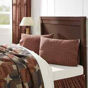 PARKER-Pillow-Case-Set-of-2-Burgundy-Navy-Plaid-Fabric-Rustic-Cabin-Cotton-VHC