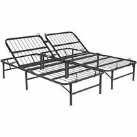 Full Size Metal Bed Frame Base Platform Adjustable Head Folding Mattress Support
