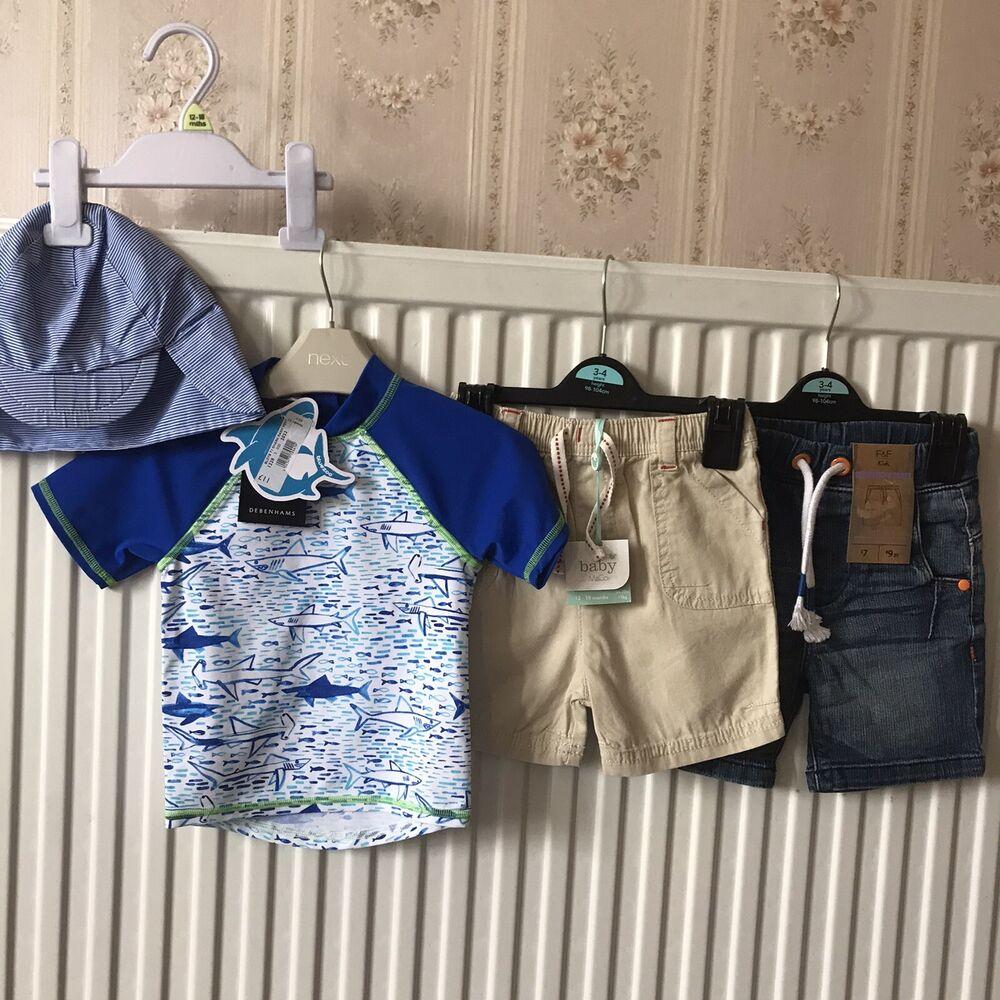 12-18 Mois Bnwt Garçons Shorts & Rash Vest. Debenhams, F&f, M & Co. Rrp £ 24.
