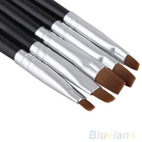 5Pcs Lot Professional Flat Brush Pen Nail Art Tool Acrylic UV Gel Sets Kits BJCU