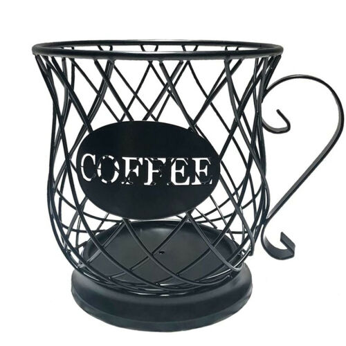 Coffee Mug Cup Shape Storage Basket Fruit Snack Holder Metal Cafe Organizer Swee
