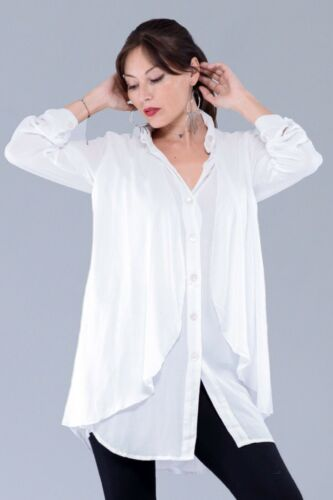Bohemian Fashion Blouse top-Button Down Rayon Crinkle-Plus U6050 LotusTraders