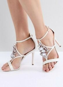 buy good new high amazing price Ted Baker Liosa Embellished T-Bar Heeled Sandals In White Size 40 ...