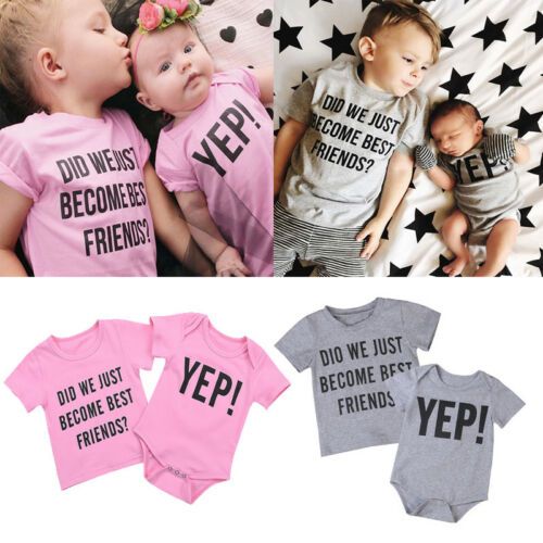 Holiday Toddler Kids Baby Boy Letter Brother Matching Clothes T shirt Top Outfit
