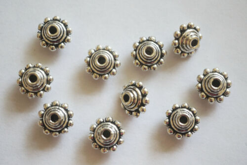 10 mm x 7 mm 15 Métal Argent Antique Bobine biconique Shape Spacer Beads