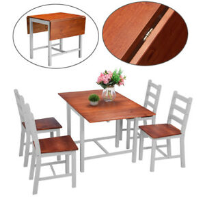 Panana-Folding-Drop-Leaf-Dining-Table-and-4-Chairs-Dining-Set-Dark-Pine-amp-White