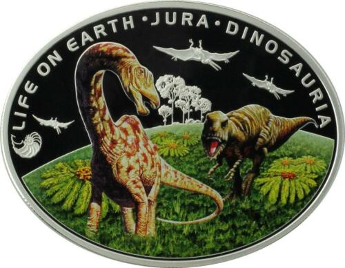 Jurassic Period Life On The Ground .925 Silver Coin Niue 2013 $1 Life on Earth