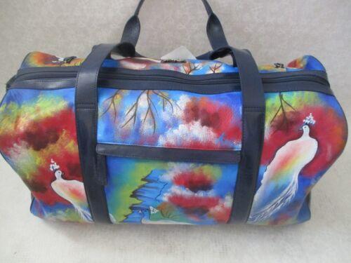 reizen Handgeschilderde tassen BagNwt Peacock en Shoppers Sharif Duffle lederen Om0y8nvNw