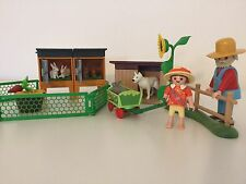 Playmobil Rabbit Hutches, Dog Kennel & Dog, Farmer, Girl & Cart Farm Petting Zoo