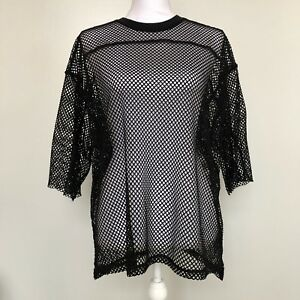 Urban-Outfitters-Womens-Shirt-Black-Short-Sleeve-Oversized-Mesh-Net-Top-One-Size