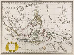 """1812, Carte ancienne Océanie, Malaisie, Indonésie, Malte-Brun Lapie & Poirson - France - Commentaires du vendeur : """"Cette carte est rare ! Gravure sur acier. Dimensions : 26cm x 35cm. Carte ayant du vécu, dans le bon sens du terme, car ce vécu lui donne un cachet unique. Globalement les marges et bords de la feuille présentent u - France"""