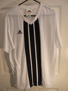 Details about ADIDAS SOCCER JERSEY SHIRT-MENS LARGE-WHITE-V NECK-LOGO ON FRONT-SOME SNAGS
