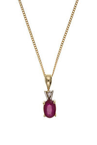 Ruby-and-Diamond-Pendant-Yellow-Gold-Solitaire-Necklace-Hallmarked-18-034-Chain