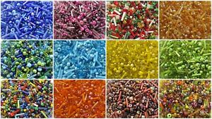 50g-11-0-8-0-and-6-0-Seed-Beads-Mixed-inc-Bugles-and-Hex-Cut-Colour-Choice