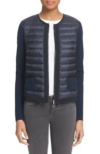 39b7dda4a Details about MONCLER Navy Blue MAGLIA Zip Front Quilted Down Front Tricot  Jacket Cardigan XS