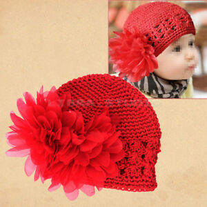 Hot Sale Red Cute Crochet Flower Beanie Hat Cap for Newborn Baby ... 9856427bd641