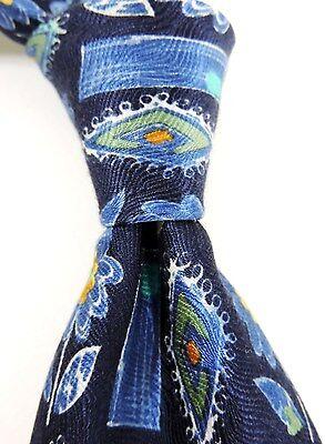 Beliebte Marke Austin Reed Aufdruck Jacquard 100% Seidenkrawatte - Blau Mit Gelbem Blumenmuster