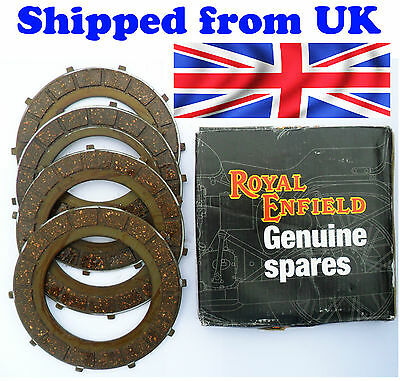 GENUINE NEW ROYAL ENFIELD BULLET 4 CLUTCH FRICTION PLATE KIT # 597383 @ UK