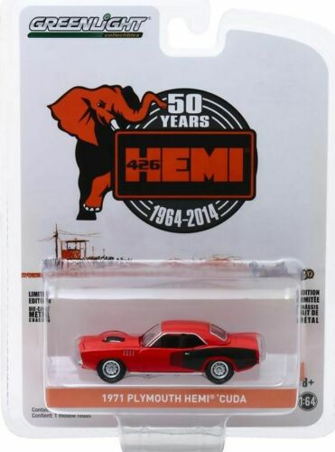 1971 Plymouth HEMI Cuda **** Greenlight Anniversary 1:64 NEU