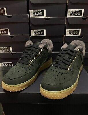 Nike AF1 Air Force 1 PRM Winter Shoes Wool Lined Black Gum Grey  (BV0131-001) | eBay