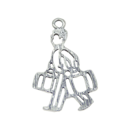 10 pcs Vintage Silver Metal Charm Men That Carries Luggages Pendant Findings