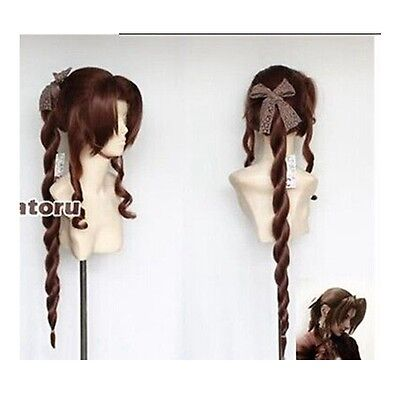 Final Fantasy VII Aerith Brown Gainsborough Cosplay Wig Fashion Cos Wig Hair