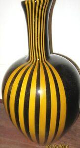 Grand Murano noir et orange à rayures vase. 14 in (environ 35.56 cm) de haut- superbe- parfait!-afficher le titre d`origine upom0JZb-09163113-330798310