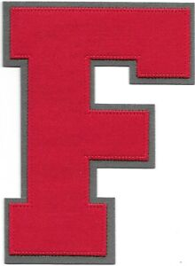 """6"""" inch Tall Red Grey Block Letterman's Letter F Felt Patch"""