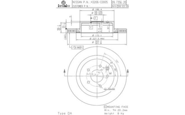 2x BREMBO Discos de Freno Traseros Ventilación interna 322mm 09.7356.21