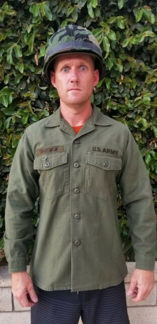 VIETNAM WAR Era US Army OG-107 SATEEN COTTON OD Shirt Fatigue 15.5 x 33.  1970