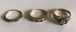 3-Vintage-Gold-Emerald-Diamond-Rings-All-Needing-A-Stone