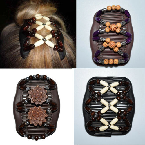 Magic Wooden Stretchy Hair Slide Comb Updo Double Hair Clip Hair Jewelry m-z