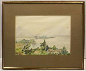 """"""" Impressionnant Paysage Visible Am See Avec Bergen """" Aqua / Mélangé Unsign. En Apparence éLéGante"""