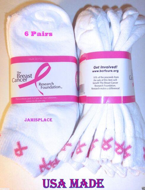 6 Pair No Show Pink Ribbon *NEW . Sz 9-11 Breast Cancer Socks.