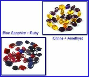 Discounted Price 200 Ct Mix Shape Sapphire, Ruby, Citrine & Amethyst Gems Lot