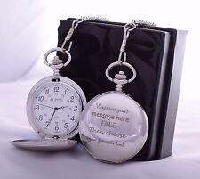 LASER Engraved Pocket Watch in Silk Gift Box For Birthday/Valentines/Dad/Son