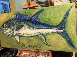 HUGE-GAME-FISH-BLUEFIN-TUNA-BLUE-GREEN-BY-ANN-SUSAN-ELMER