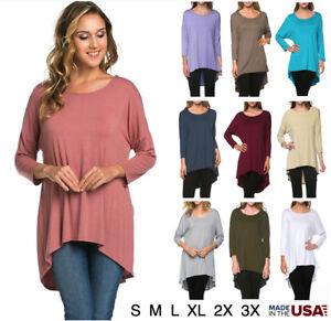 Women-Basic-3-4-Sleeve-High-Low-Solid-Round-Neck-Tunic-Dolman-Top-Tee-Shirt-USA