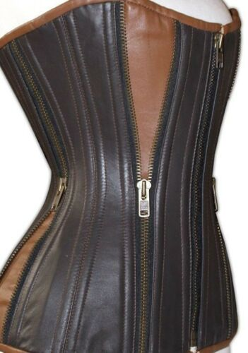 Top Quality 100/% Real Leather Zipper Corset