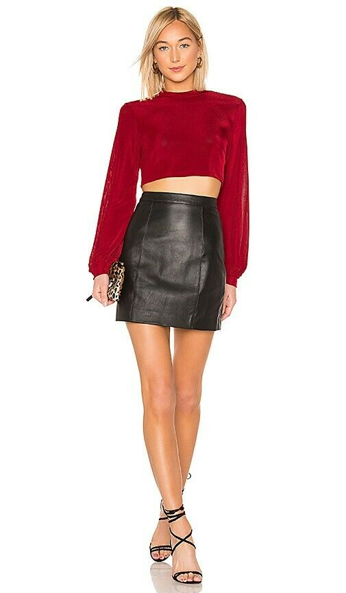 L'academie REAL Leather Skirt Sz M
