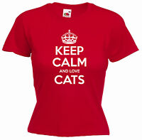 'Keep Calm and Love Cats' Funny Ladies Pet Girls Birthday Gift T-shirt Tee