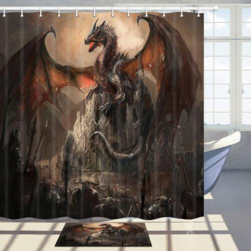 Evil Dragon and Castle Shower Curtain Bathroom Decor Fabric /& 12hooks 71x71IN