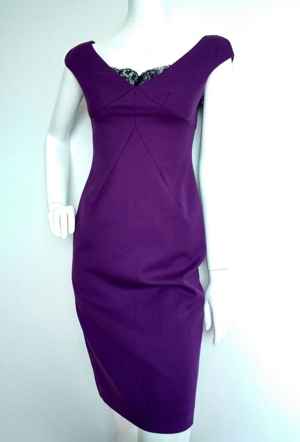 Designer Designer Designer LK BENNETT fitted shift dress size 6 --USED ONCE-- wool blend purple 7389f1