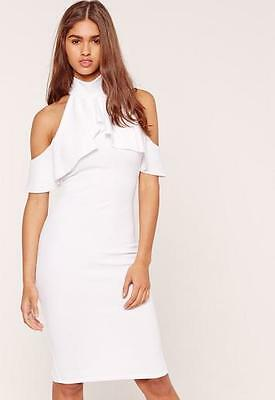 M9//33 MISSGUIDED white frill cold shoulder dress