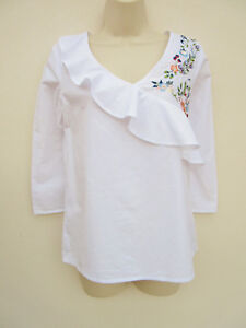 Primark-Womens-White-Cotton-Embroidered-Blouse-Top-size-8