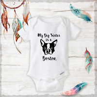 Big Brother Or Sister Is A Boston Terrier Onesie Baby Clothes Outfit Baby Shower