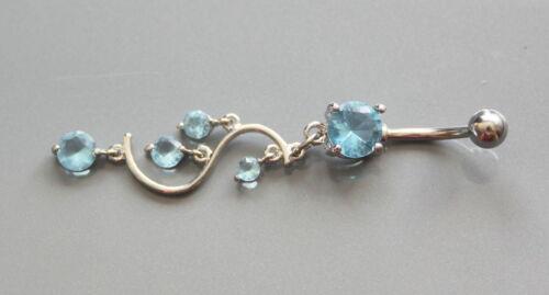joyas de cuerpo 1 X empedrada Vid Azul Estilo De Acero Quirúrgico Ombligo del vientre Bar