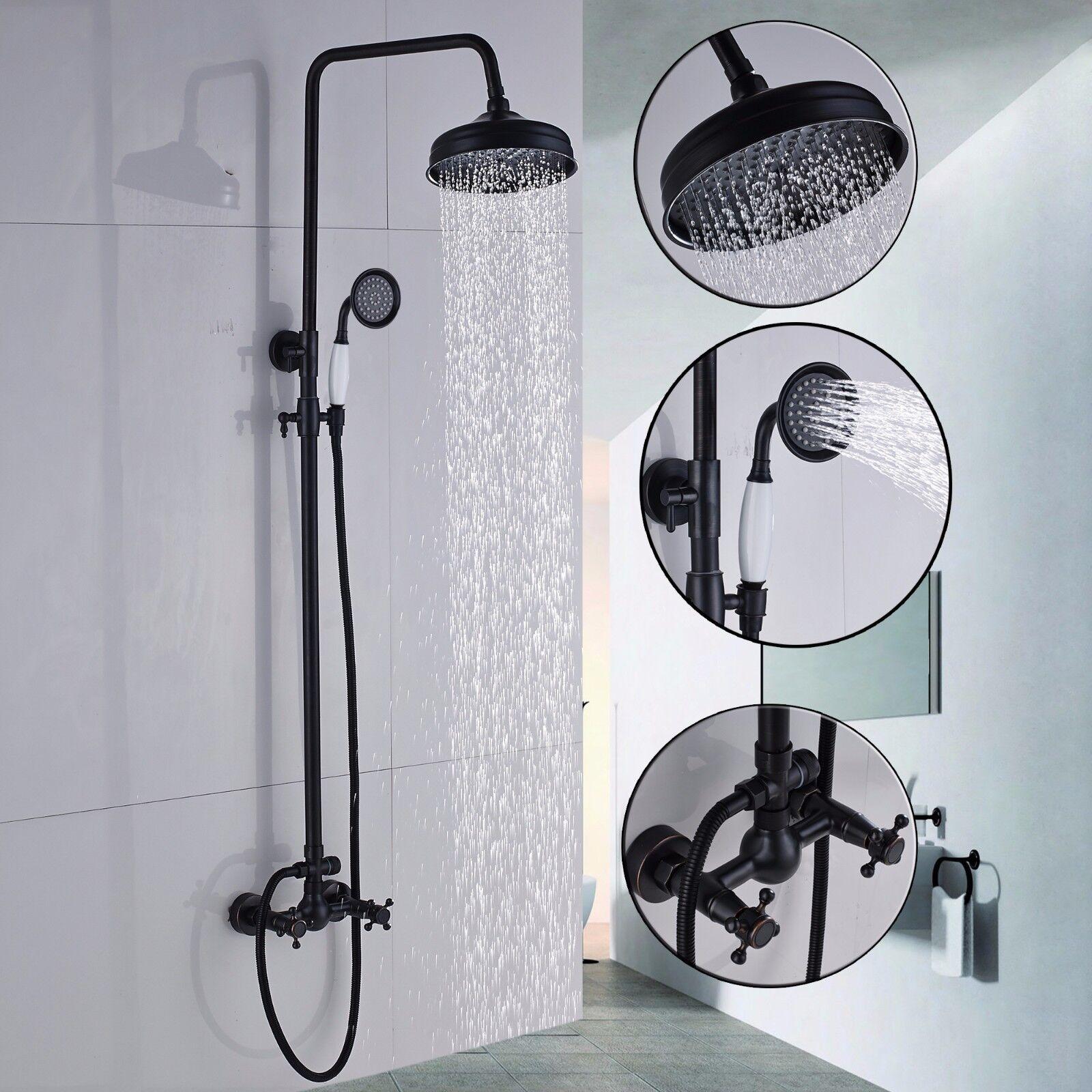 Oil Rubbed Bronze Shower Faucet Set Mixer Rain Shower Head Tap Hand Sprayer Tap