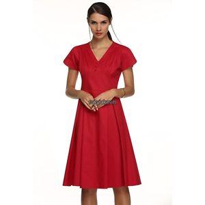 Women-lady-short-sleeve-V-Neck-High-Waist-Dress-sundress-pluse-size-3XL