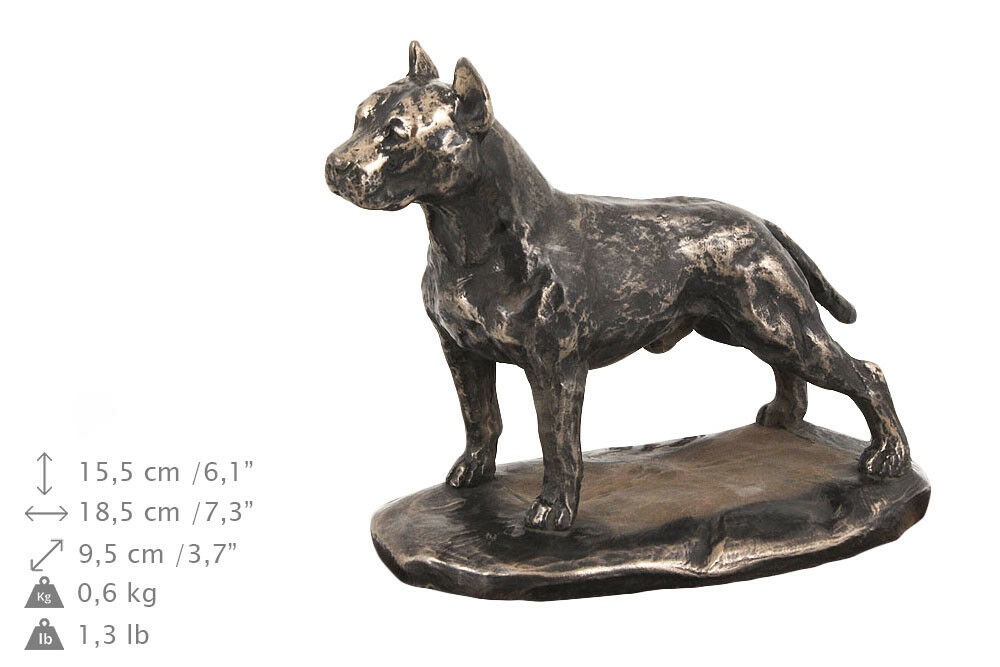 AM Staffordshire Terrier Memoriale Urna per le ceneri di cane, con statua di cane bara Pet